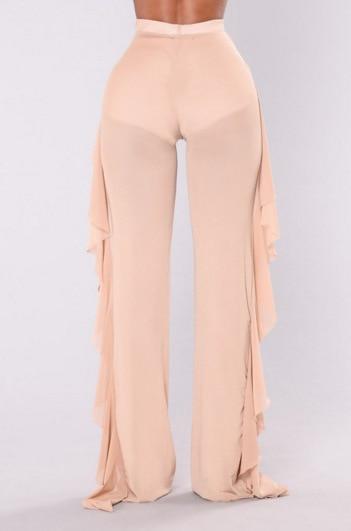 Women Sexy Ruffle Beach Mesh Pants Sheer Wide Leg Pants Transparent 17