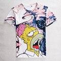 2016 de La Moda Streetwear Hip Hop Con Capucha de Manga Corta 3D T Shirt de Impresión Marca Simpson Gimnasio Delgado