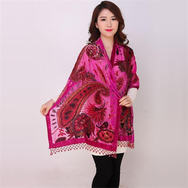 Hot Pink Chinese Female Velvet Silk Beaded Shawls Vintage Handmade Embroidery Scarves Scarf Long Fringe Muffler Peacock Pattern