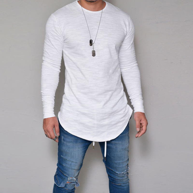 Fashion Men's Slim Crew Neck Long Sleeve Muscle Tee T-shirts Men Casual Tops Solid Cotton Shirts