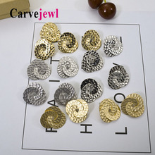 Carvejewl metal stud earrings trio circle hammered round for women jewelry resin post anti allergy Korean