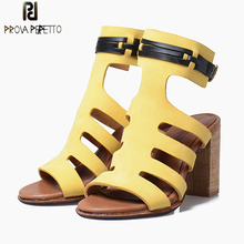 Prova Perfetto Summer New High Heel Women Sandal shoe Fashion Mixed Color Belt Buckle Peep Toe Hollow Out Gladiator Sandal Mujer