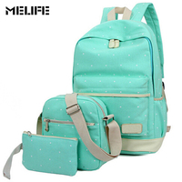 MELIFE 3 Sets Women Backpack Korean Canvas Printing Backpacks Student Fashion School Bags For Teenage Girls