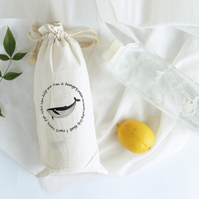 Seal / Whale Glass Water Bottle with Sleeve 3