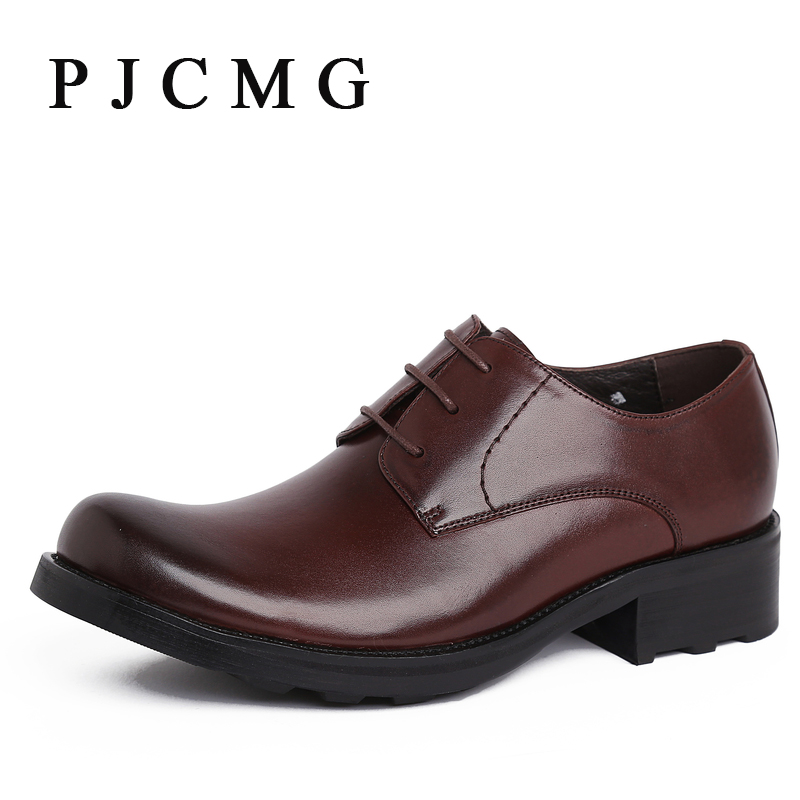 PJCMG Italian luxury designer formal mens dress shoes genuine leather black basic flats for men wedding office shoes fashion top brand italian designer mens wedding shoes men polish patent leather luxury dress shoes man flats for business 2016
