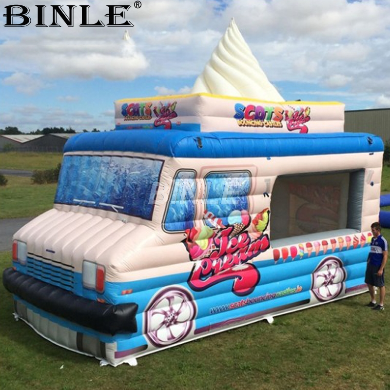 Customized mobile portable giant inflatable ice cream truck stand pop up car tent for advertising ac028 factory price giant inflatable advertising new customized replica product