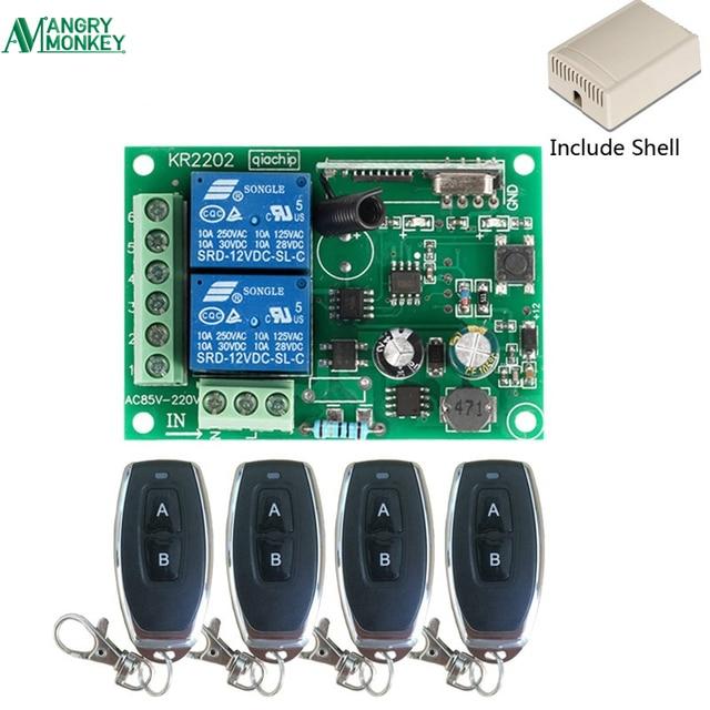 433 Mhz האלחוטי אוניברסלי מתג AC 250 V 110 V 220 V 2CH ממסר מקלט מודול 4 pcs RF 433 Mhz שלט רחוק