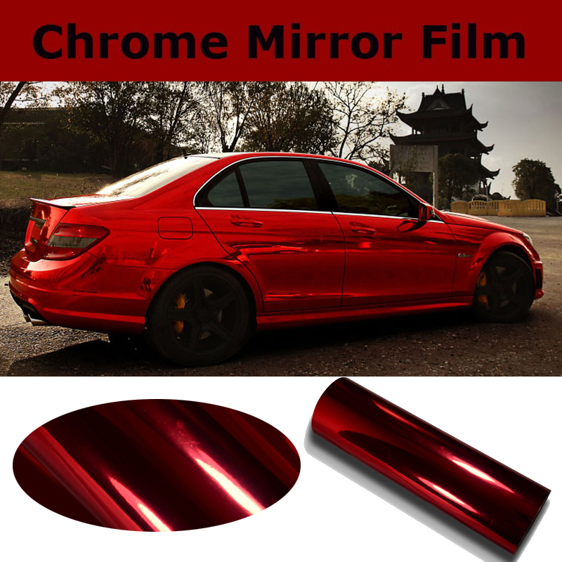 High Stretch Chrome Red Vinyl Wrap Full Car Wrapping