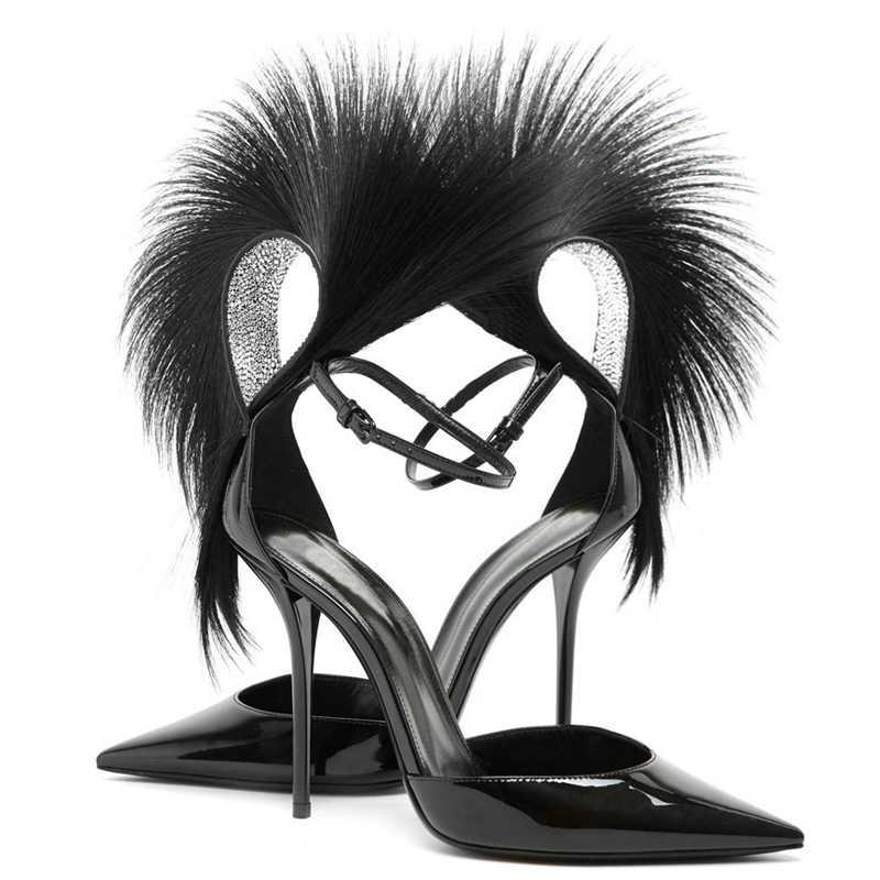 2019, diseñador de pasarela, sandalias de plumas con tachuelas de cristal para mujer, zapatos con punta estrecha y tacón alto, zapatos de charol para mujer, zapatos de fiesta
