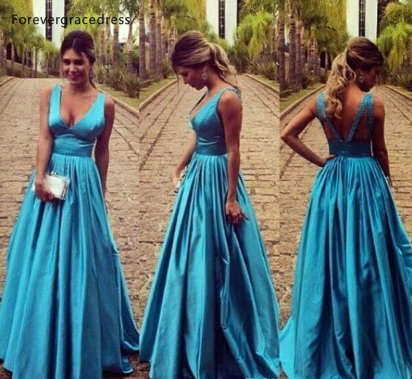 Blue A Line   Evening     Dresses   2019 Deep V Neck Backless Formal Women Holiday Wear Celebrity Party Gowns Plus Size Custom Made
