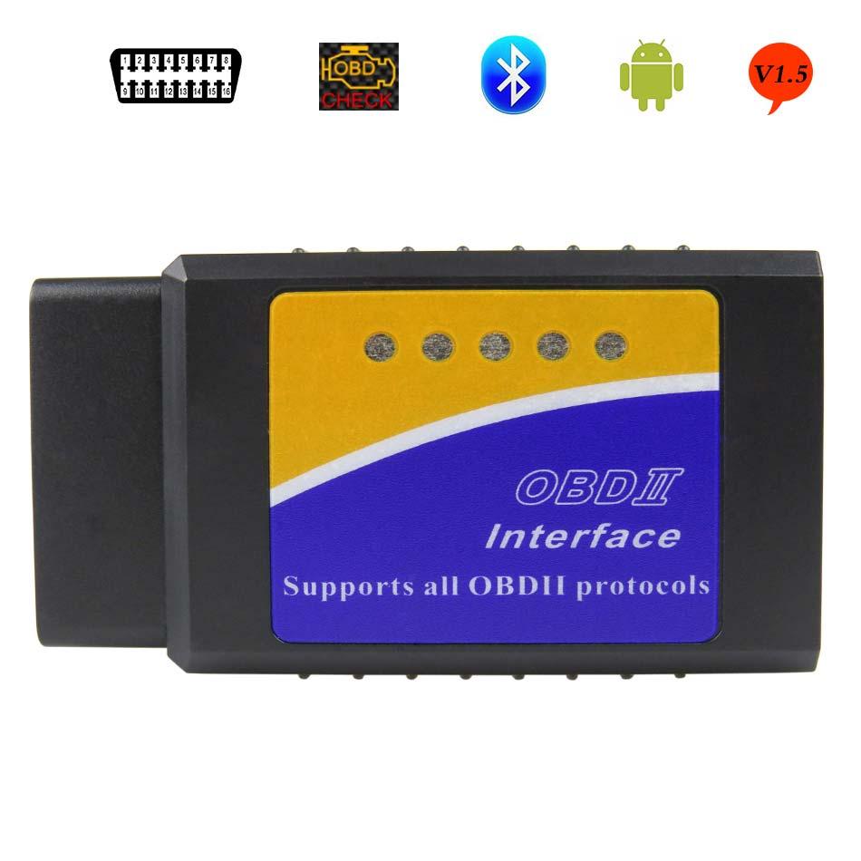 New OBDII Scanner ELM327 Bluetooth V1.5 OBD2 Car Diagnostic Tool For Android ELM 327 V 1.5 OBD 2 ELM-327 Code Reader Scanner 2016 new arrival vs 890 obd2 car scanner scantool obdii code reader tester diagnostic tools 3 inch lcd car detector