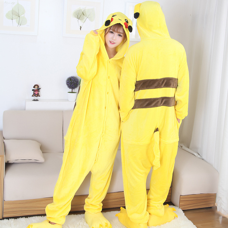 Warm Winter Anime Pokemon Unisex Adult Onesie Pikachu Sleepwear Flannel Pajamas Carnival Cosplay Halloween Costume for Men Women