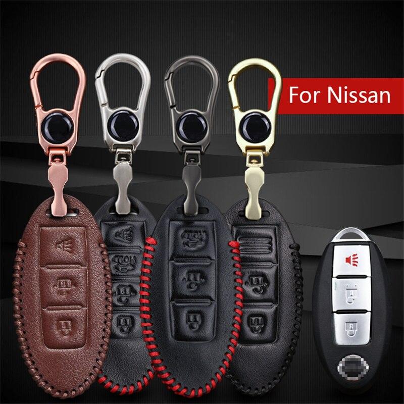 For Nissan Key Genuine Leather Car Key Smart Cover Case For Nissan X-trail T31 T32 Qashqai J11 Juke Tiida Almera Note Key ring