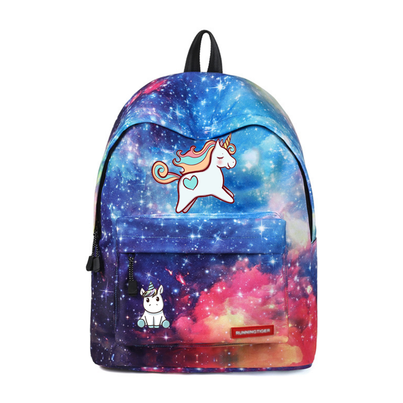 Wishot Cute Cartoon Unicorn Dab Backpack School Bags Travel Bag For Teenagers Girls Female Stars Universe Space Galaxy Printing