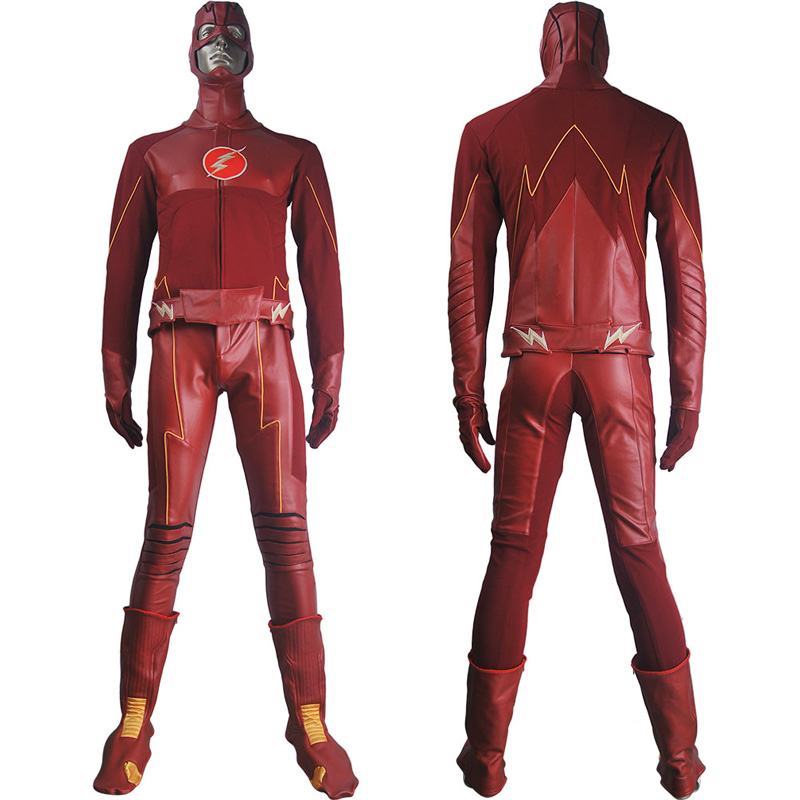 Men The <font><b>Flash</b></font> Season 4 <font><b>Barry</b></font> <font><b>Allen</b></font> <font><b>Flash</b></font> Cosplay <font><b>Costume</b></font> Justice League Suit Halloween <font><b>Costume</b></font> Superhero Outfit Carnival <font><b>costume</b></font> image