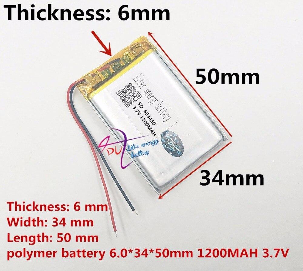 Meilleur batterie marque Taille 603450 3.7 V 1200 mah Lithium polymère avec le Panneau de Protection Pour MP3 MP4 MP5 SGP numérique Production
