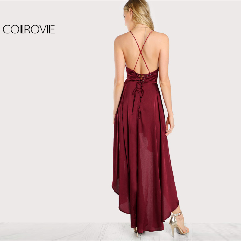 Image 2 - COLROVIE Party Dress Deep V Neck Spaghetti Strap Sleeveless Maxi Dress Asymmetrical Crisscross Backless High Low Cami Dress-in Dresses from Women's Clothing