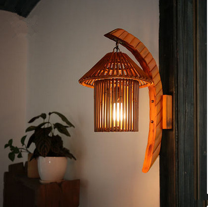 Southeast Asia style cottage romatic bamboo hand-made wall lamps Rural nostalgic lights for vestibule&corridor&porch&bar LDK011 southeast asia style hand knitting bamboo art pendant lights modern rural e27 led lamp for porch