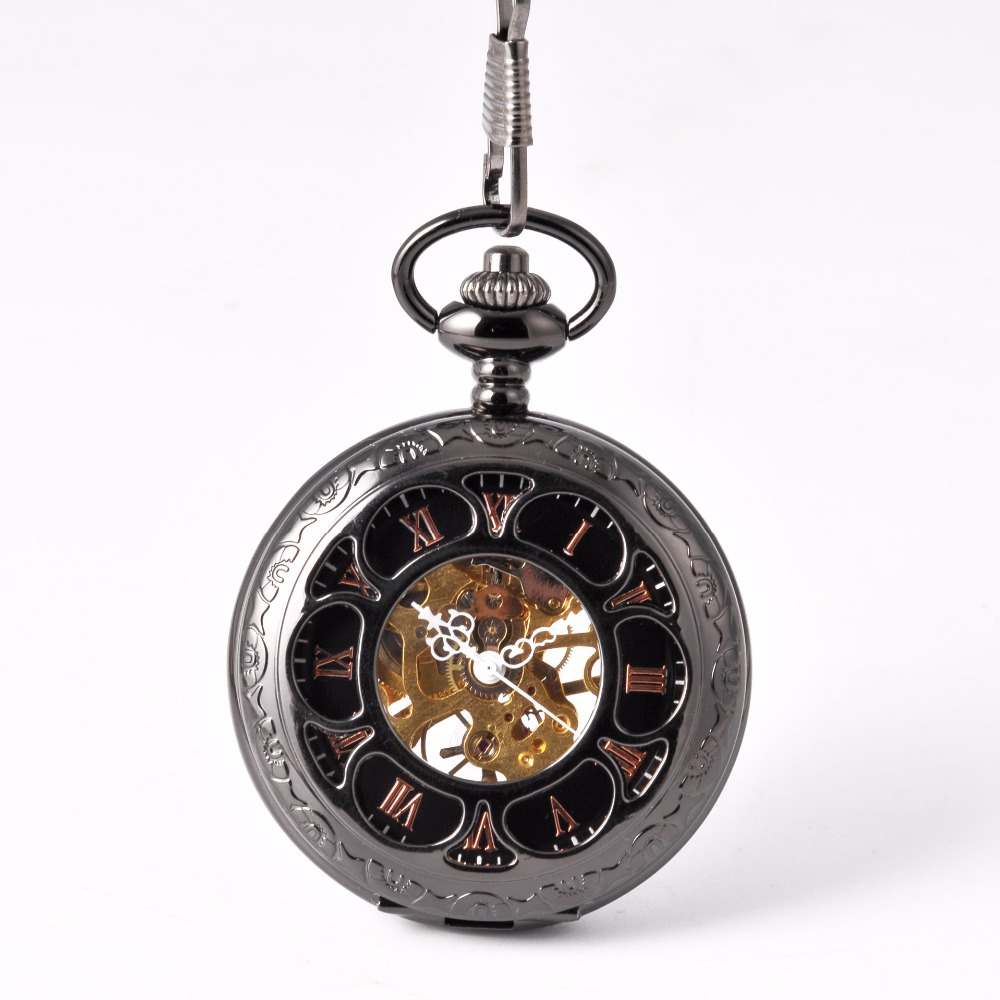 8940    New Pocket Watch Black Mechanical Petals Retro Fashion Simple Engraving Handmade Round Mechanical Watch Unisex