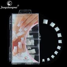 Fengshangmei полупокрытые искусственные наконечники, изогнутые накладные французские наконечники для ногтей, Натуральные Цветные накладные ногти для салона, упаковка 100 шт