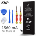 100% Original Brand KHP Phone Battery For iphone 5S Real Capacity 1560mAh With Machine Tools Kit Mobile Batteries