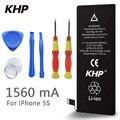 100% original de la marca khp capacidad real 1560 mah batería del teléfono para el iphone 5s con máquinas herramientas kit de baterías móviles