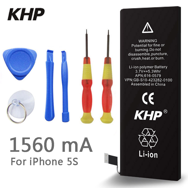 2018 Nova 100% Original KHP 5S Real Capacidade 1560 mah Da Bateria Do Telefone Para O iphone Com Kit de Ferramentas de Máquina de Baterias Móveis 0 ciclo