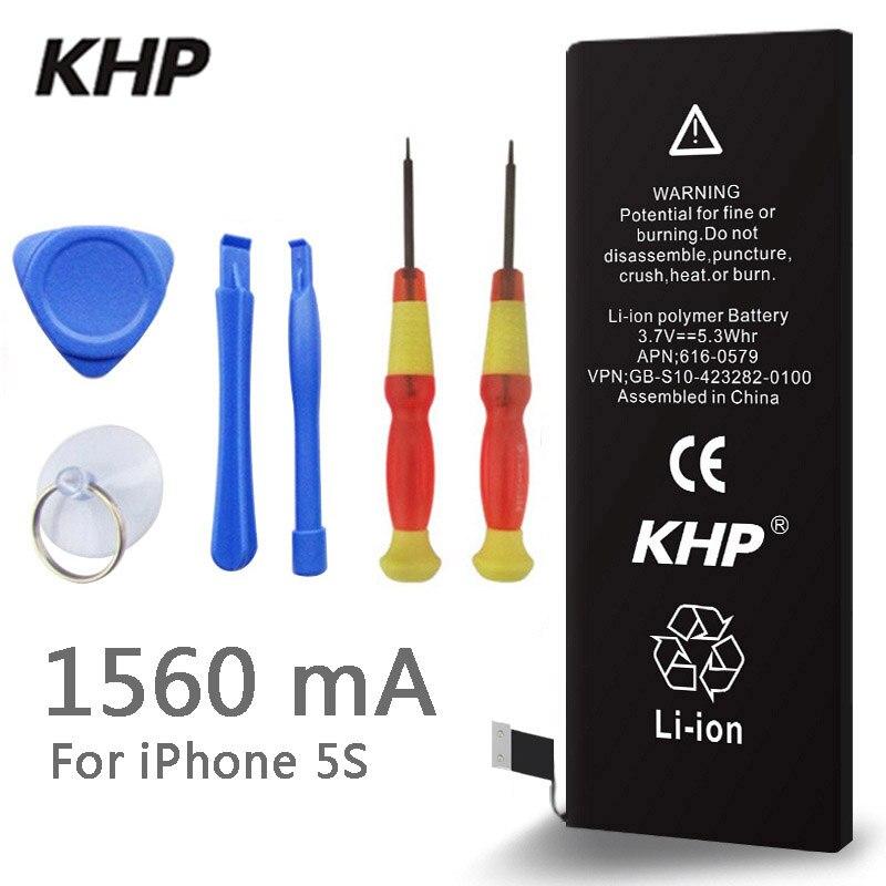 2018 Nuovo 100% Originale KHP Batteria Del Telefono Per iphone 5 5S Reale Capacità di 1560 mah Con La Macchina Kit di Strumenti di Batterie Mobili 0 ciclo