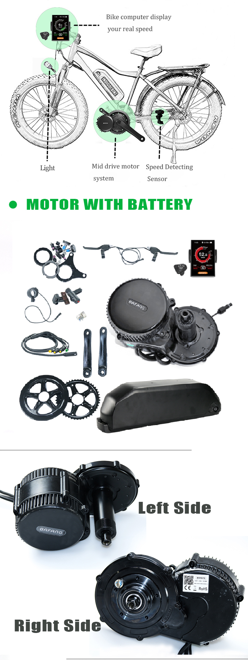 Sale Bafang Mid Drive Kit Electric Motor 36V 500W Bafang BBS02 Motor E-bike Kit with Electric Bike Battery Kit 36V 13AH Bike Battery 3
