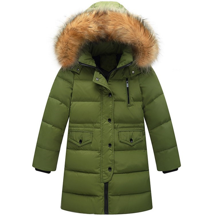 Long Down Jacket For Girls Winter Coat 2017 New Fashion Hooded Big Fur Collar Warm Topcoat Cartoon Big Pockets Outwear 120-160 2017 winter women jacket down new fashion hooded thick warm medium long cotton coat long sleeve loose big yards parkas ladies323