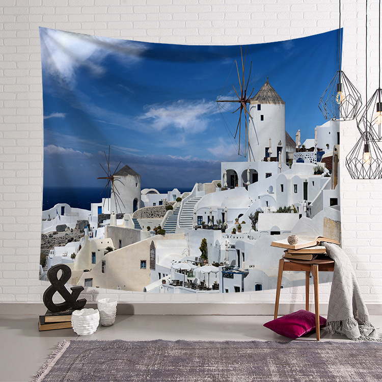 CAMMITEVER Greece Blue White Town European Culture Holiday Tapestries Beautiful Scenery Hippie Wall Hanging Tapestry Home Decor-in Tapestry from Home & Garden