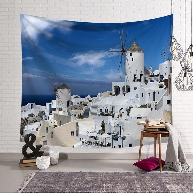 Cammitever 그리스 블루 화이트 타운 유럽 문화 휴일 태피스 트리 아름다운 풍경 히피 벽 매달려 태피스 트리 홈 장식