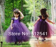 Cap Sleeves Purple Flower Girl Dresses 2014 A Line Sweetheart Sash Organza Floor Length Custom made gowns yk8R204