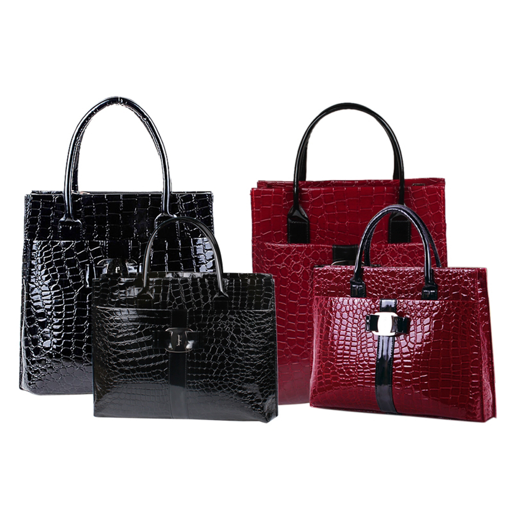 Luxury OL Style Lady Handbag Women Crocodile Pattern PU Leather Shoulder Bag BS88