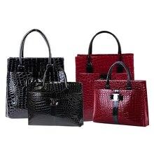 Luxury OL Style Lady Handbag Women Crocodile Pattern PU Leather Shoulder Bag BS88