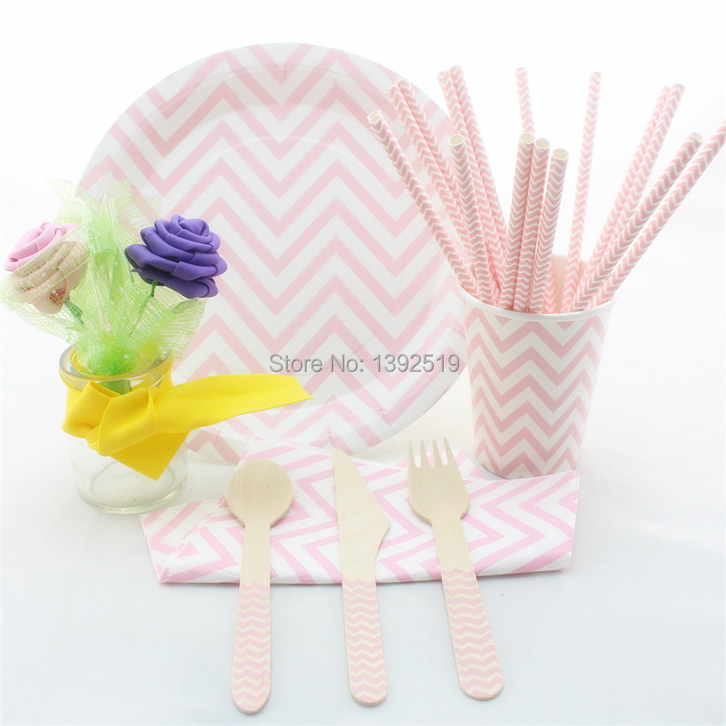 Baby Pink  Party Tableware — 716pcs in set Chevron Design kid's Party  Party Tableware Paper Plate Cup Straw Napkin Cutlery
