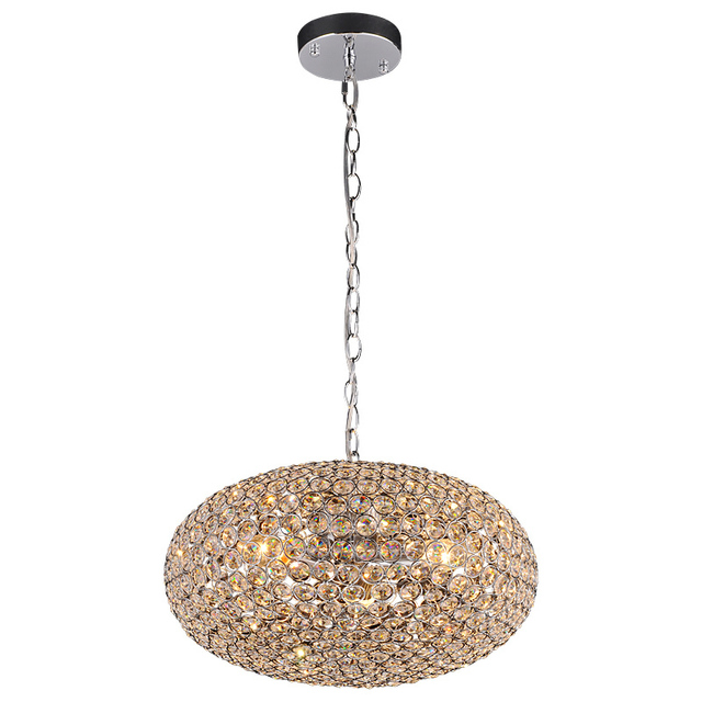 Modern Oval Crystal Ball Dining Room Chain Pendant Light Restaurant Bar Counter Lamp Corridor Balcony