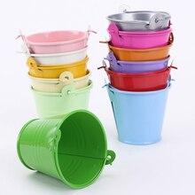 new 12pcs colorful mini metal bucket candy favours box pail wedding party gifts keg couleur barril de color hot