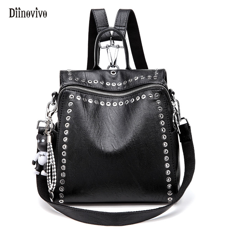 Diinovivo Black Punk Women Backpack Rivet Pu Leather School Bag Fashion Preppy Style Back Pack Streetwear Motorcycle Bag Dnv0716