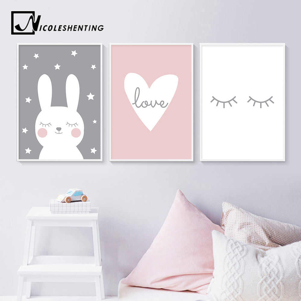 Baby Nursery Wall Art Canvas Print Cartoon Rabbit Heart Poster Simple Painting Decorative Picture Nordic Kids Bedroom Decoration Painting Calligraphy Aliexpress