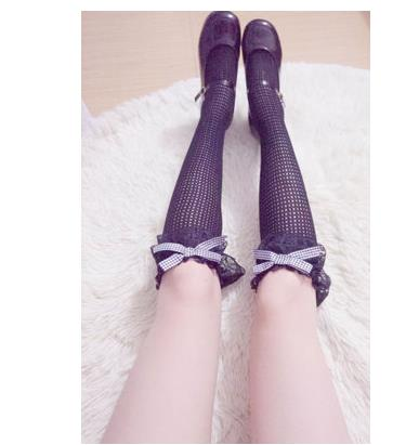 Princess Sweet Lolita Stockings Originally Lace Big Lace And Bow Knot High Stockings Female Hollow Sexy Stockings WGR088
