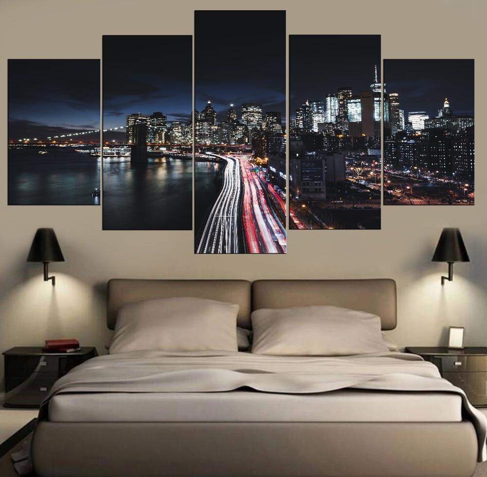 /' New York City Manhattan At Night Skyline /' Cityscape Modern Canvas Deco