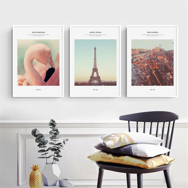 HAOCHU Nordic Vertical Wall Picture Nostalgia Flamingo Tower Landscape Personality Home Mural Decorative Painting Canvas Artwork
