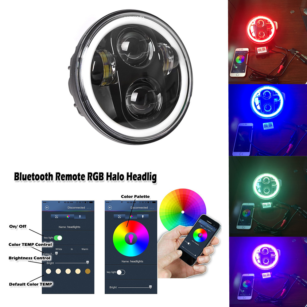 DOT Approved 5.75 5-3/4 Inch For Harley Motorcycle 40W LED Headlights RGB Halo DRL With Bluetooth APP Remote For Harley Davidson
