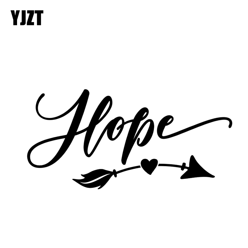 YJZT 14CM*6.8CM Hope Decal Inspirational Vinyl Car Stickers Heart Arrow Art Decoration Black Silver C10-02148