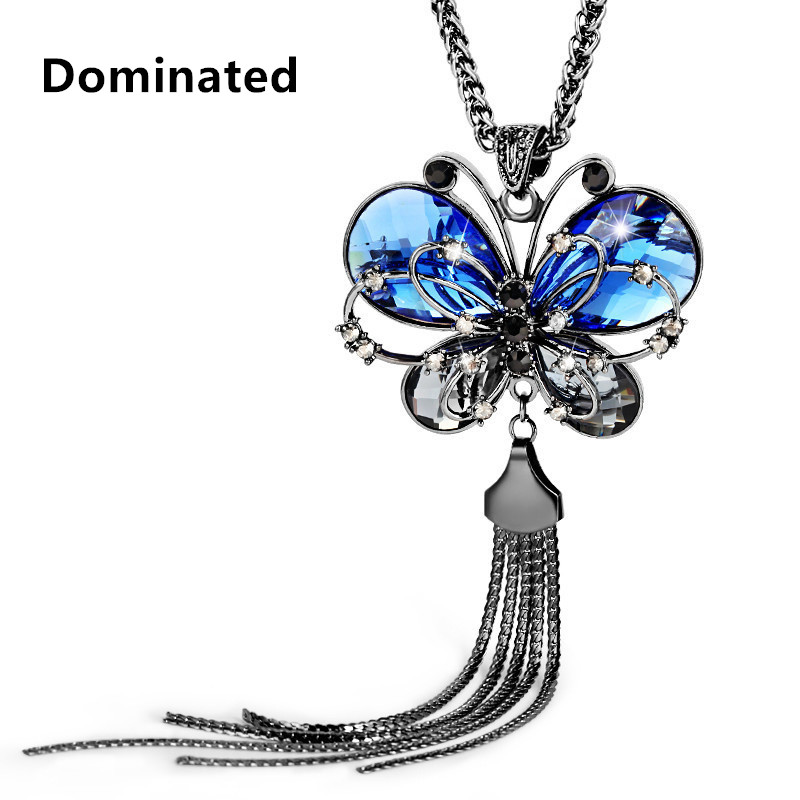 Dominated The new women necklace blue crystal butterfly long sweater chain