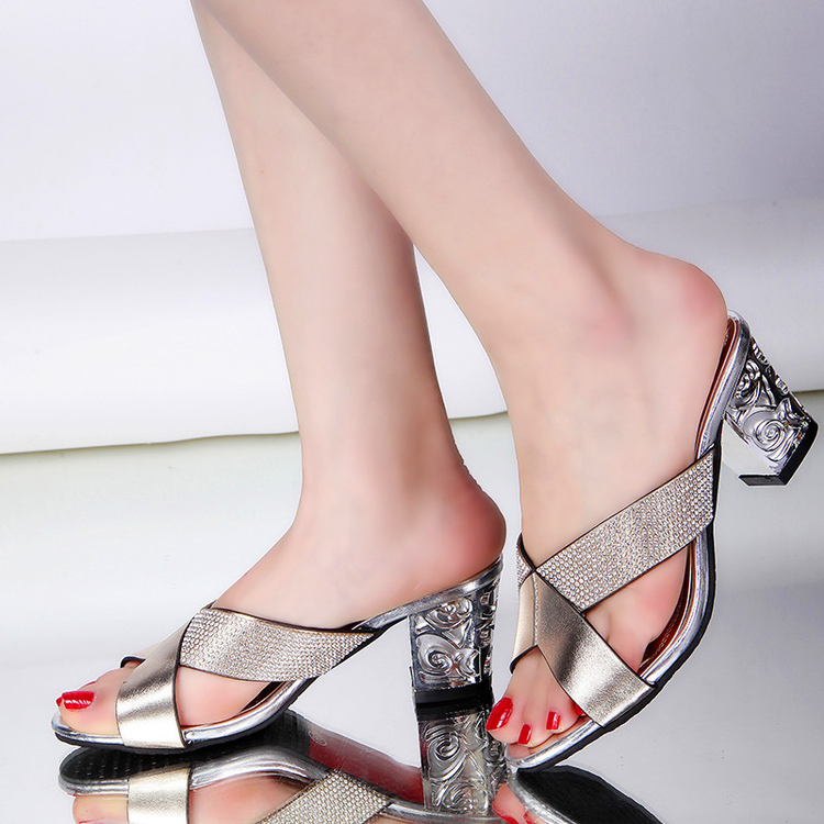 2016 Female Diamond Women Sandals Elegant Square Heel Party Summer Woman High Heel Sandals Open Toe