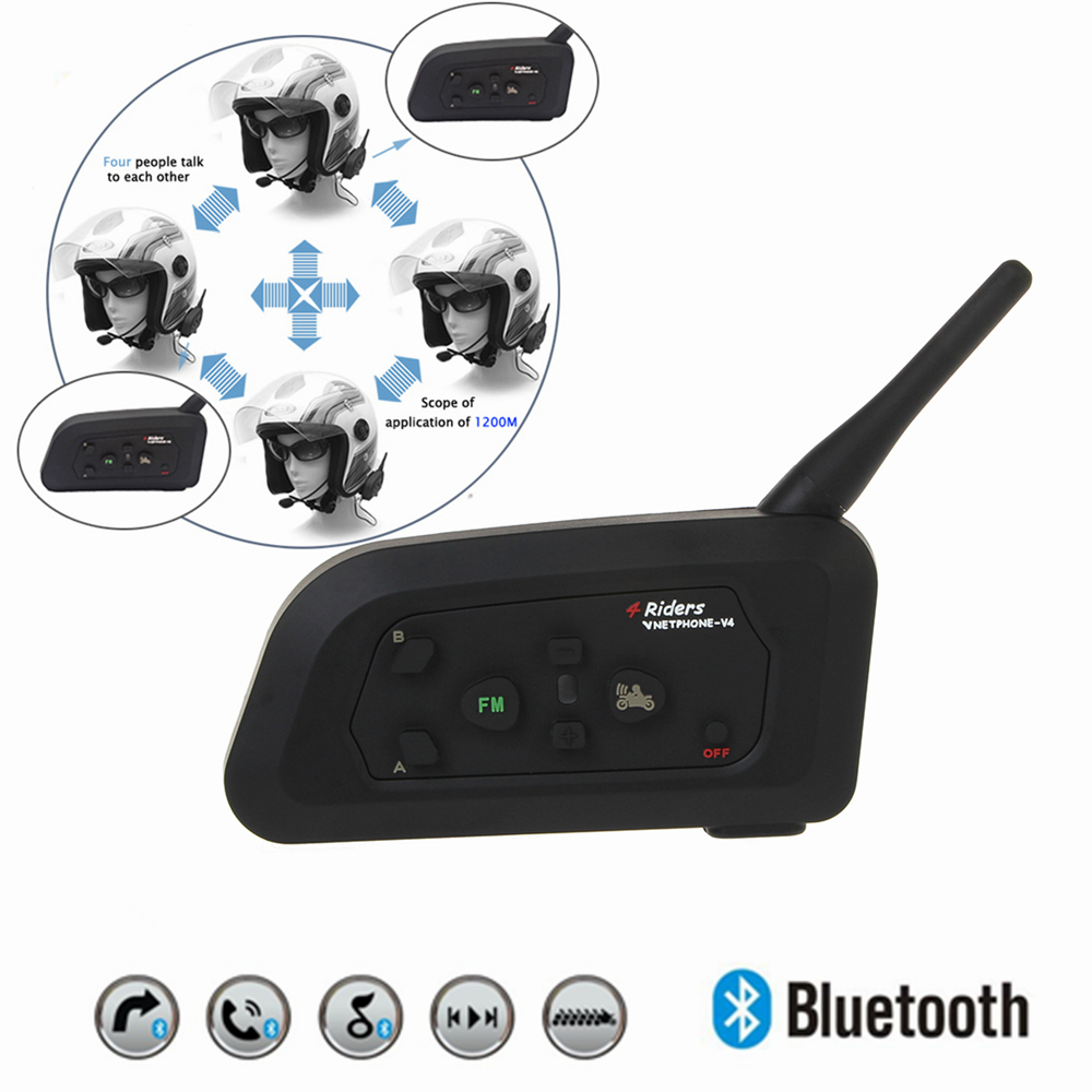 2018 V4 BT Multi Interphone Bluetooth Intercom Waterproof FM Motorcycle Headphone Helmet Headset Communicator 4 Riders 1200M 2016 newest bt s2 1000m motorcycle helmet bluetooth headset interphone intercom waterproof fm radio music headphones gps
