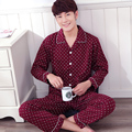 Autumn and winter lounge set male 100% cotton cardigan plus size sleepwear 100% cotton long-sleeve turn-down collar thick