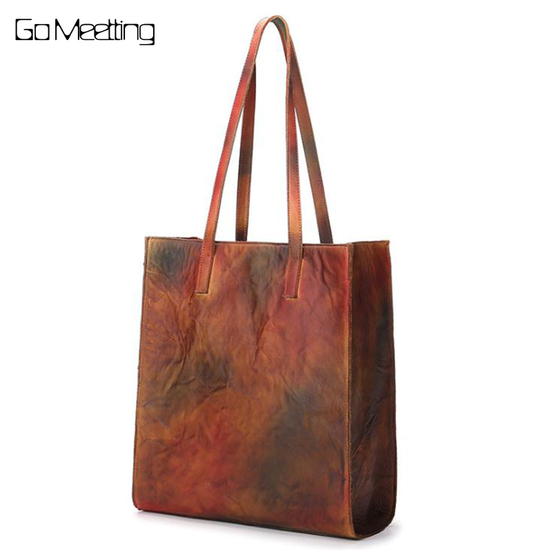 Vintage genuine leather women handbag large capacity handmade first layer of cowhide casual shopping bag Shoulder Bag Handbags barron s toefl ibt 2 cd rom